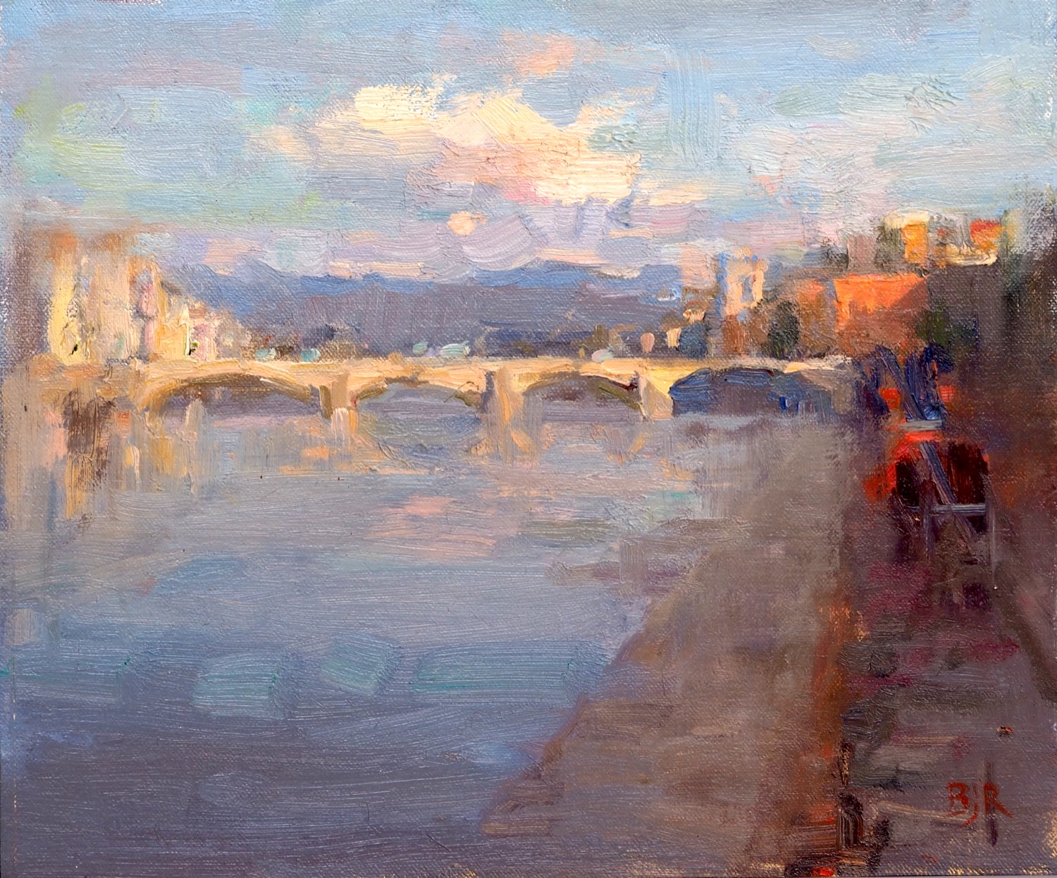 landscape oil painting: Italy Florence, The Arno by Barry John Raybould