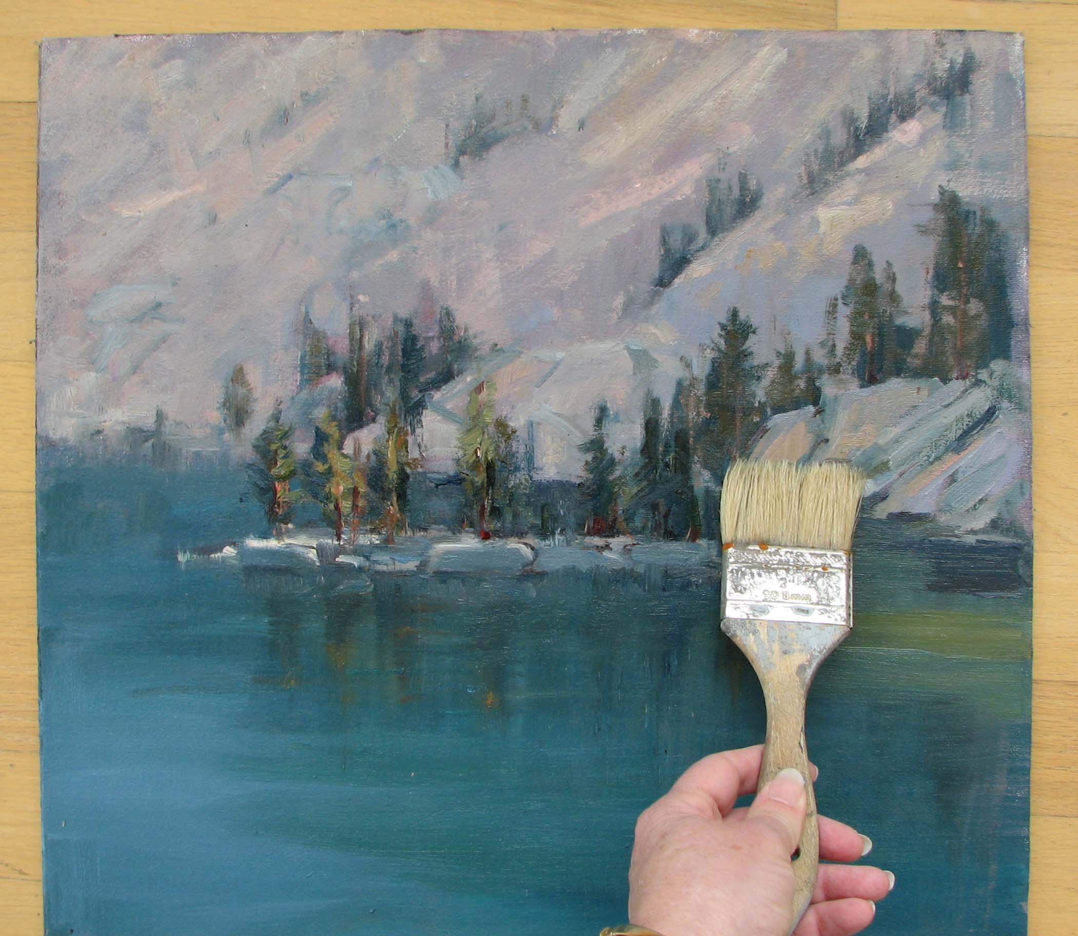 brush varnish down the painting