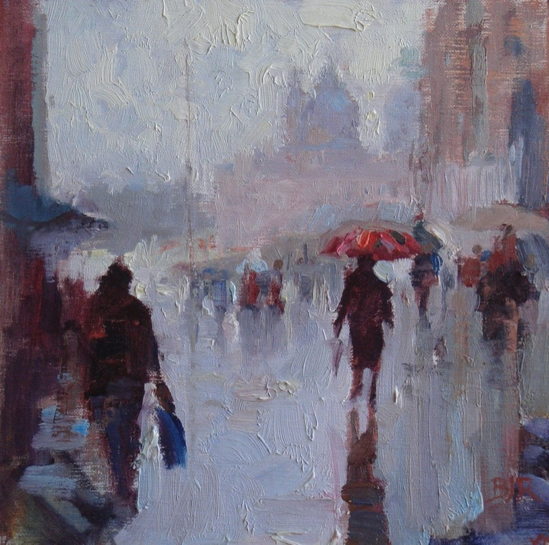 Example of atmospheric perspective in Cat. No. 894 A Rainy Day In Venice