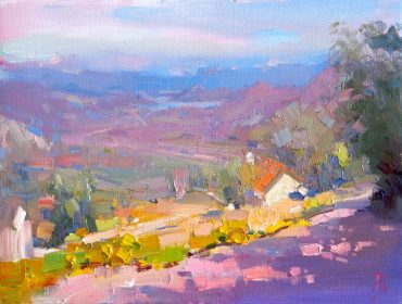Landscape oil painting: Via Montenegro Valley, by Barry John Raybould